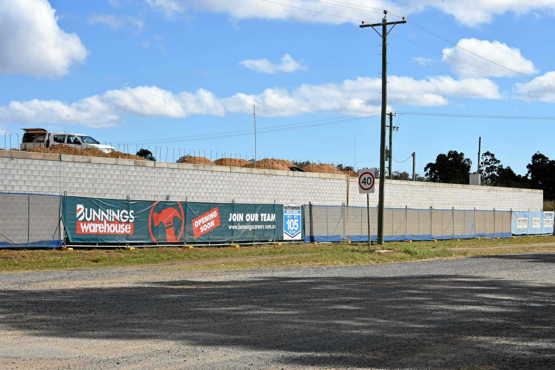 The new Bunnings store in Warwick is taking shape with a massive brick wall already constructed.