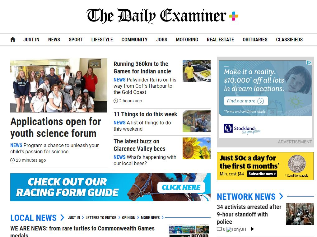 The Daily Examiner website