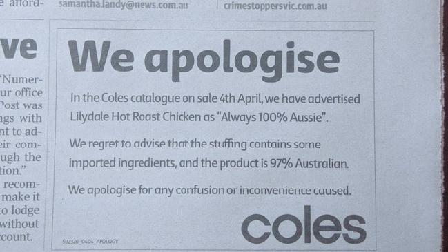Coles issues apology for a roast chicken advert. Picture: Reddit
