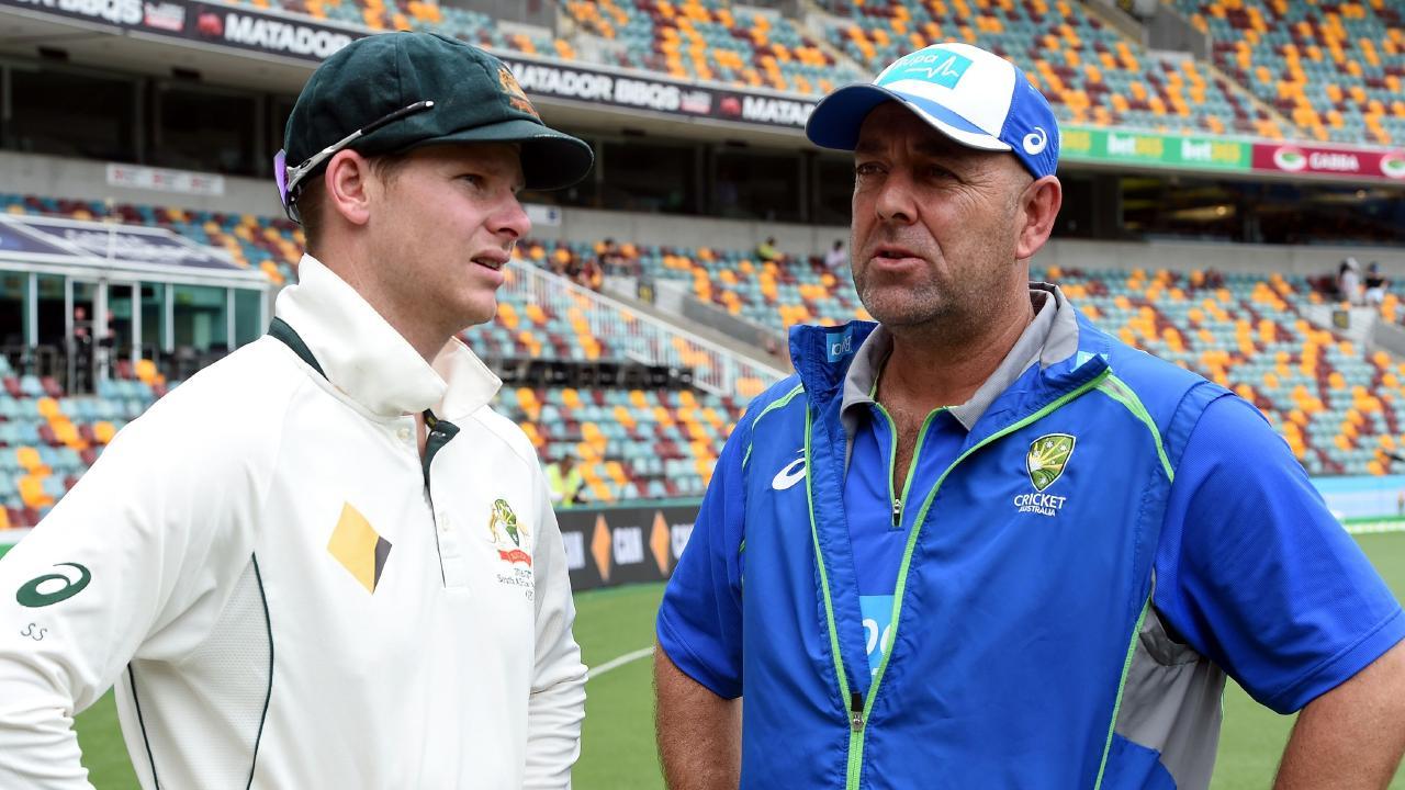 Dumped Australian captain Steve Smith with former Australian coach Darren Lehmann.