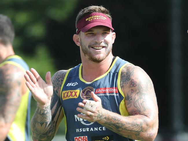 Josh McGuire enjoys himself at training. Pic Peter Wallis