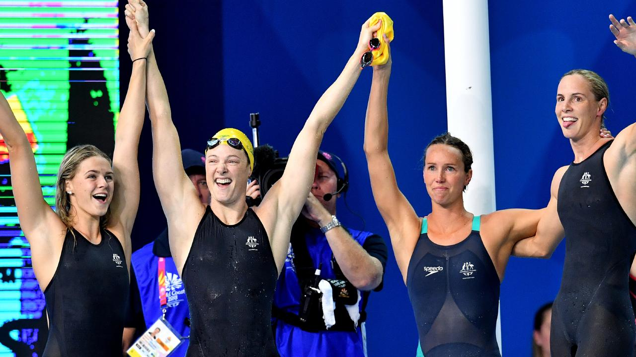 Shayna Jack, Cate Campbell, Emma McKeon and Bronte Campbell. (AAP Image/Darren England)