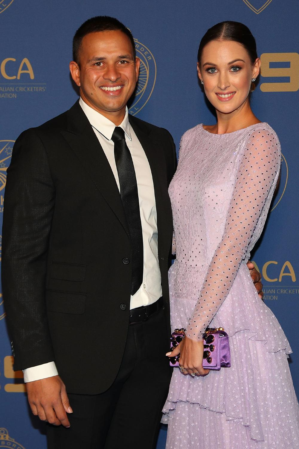 Usman Khawaja and Rachel McLellan at the Allan Border Medal awards night in February.