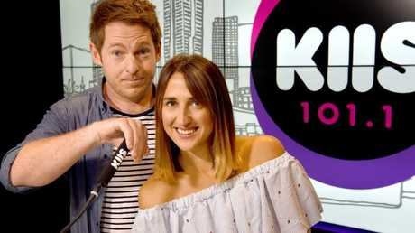 Jason Hawkins and Polly Harding host KIIS FM breakfast show in Melbourne. Picture: Nicole Garmston