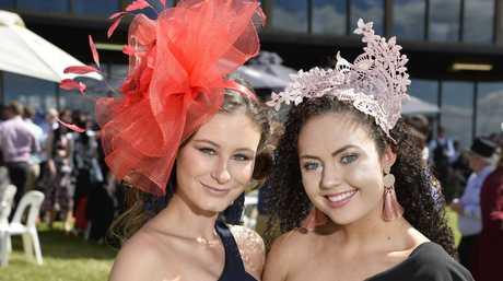 Megan Buckley (left) and Breanna Kirwan at Weetwood day at Clifford Park Racecourse, Saturday, April 7, 2018.
