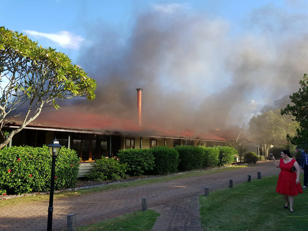 The fire takes hold at Spicers Hidden Vale, Grandchester.