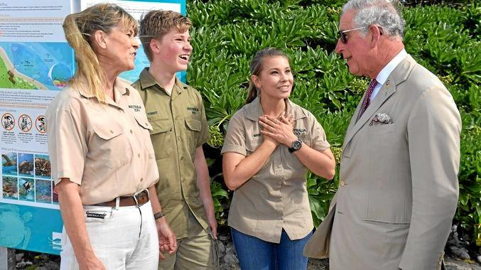 Terri, Bob and Bindi Irwin meet Prince Charles on Lady Elliott Island.