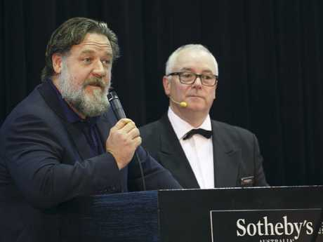 Russell Crowe attending & speaking at his own Auction