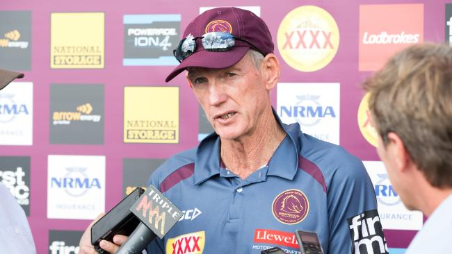Broncos coach Wayne Bennett speaks to media during a Brisbane Broncos training session at the Clive Berghofer Centre, Red Hill, Brisbane, Wednesday, April 6, 2018. (AAP Image/Richard Walker)
