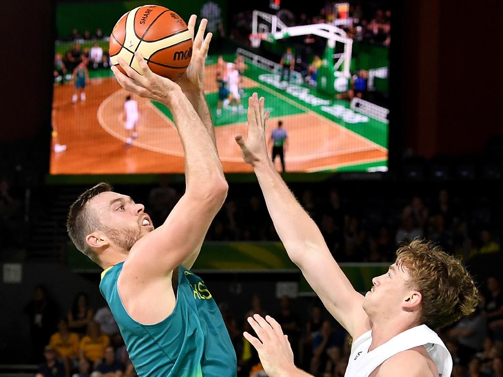 Australia's Nicholas Kay shoots against New Zealand.
