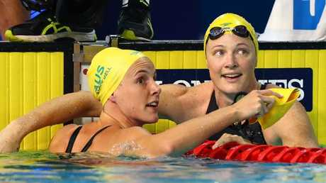 Cate and Bronte after the 50m final. Picture: Clive Rose/Getty Images