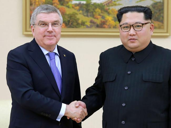 Kim has been on a charm offensive in recent weeks and is pictured here meeting with President of the International Olympic Committee Thomas Bach. Picture: AFP/KCNA