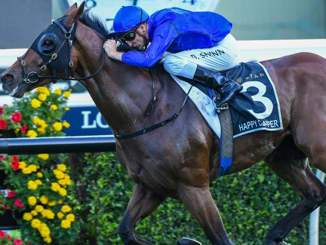 Jockey Blake Shinn and Happy Clapper win the Doncaster Mile with a thoroughly dominant performance. Picture: AAP