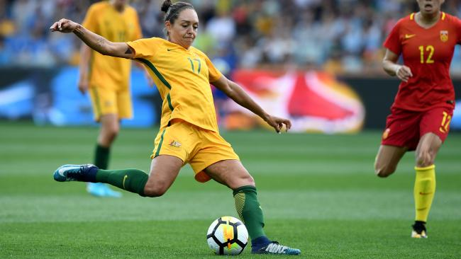 Kyah Simon is set to play a pivotal role in the Matildas Asian Cup hopes. Picture: AAP