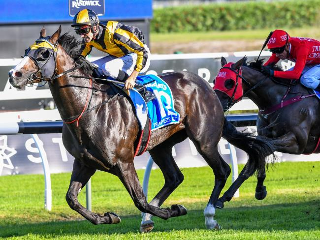 Jockey Tye Angland (left) and Trapeze Artist combine to take out the TJ Stakes. Picture: AAP