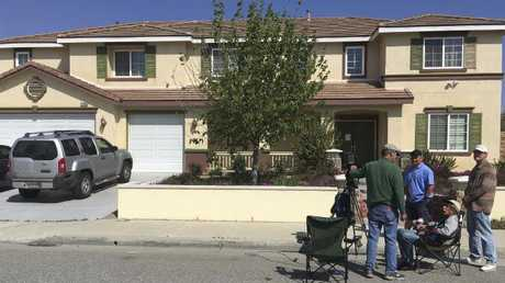 The home of the YouTube shooter's parents in Menifee, California. Picture: Elliot Spagat