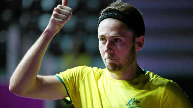 GOLD COAST, AUSTRALIA - APRIL 05: Ryan Cuskelly of Australia celebrates his win as he competes during the Squash round of 32 on day one of the Gold Coast 2018 Commonwealth Games at Oxenford Studios on April 5, 2018 on the Gold Coast, Australia. (Photo by Jono Searle/Getty Images)