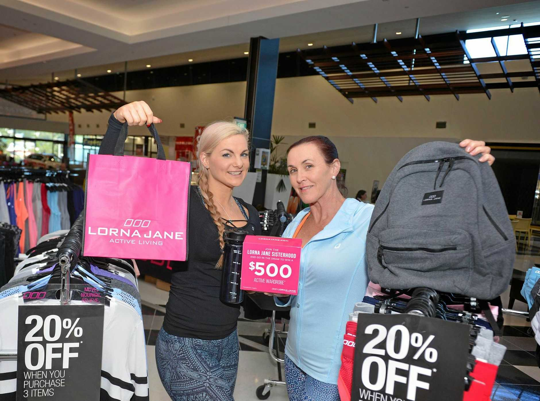 Michelle Lovett and Mariah Carew at Lorna Jane's pop-up shop last year. The popular activewear brand will once again be back in town.