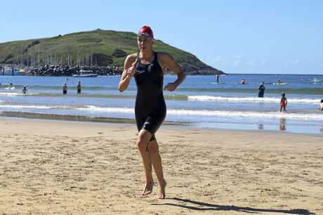 Meegan Hoare won the female section of the Beachside Radiology Coffs Ocean Swims 2km event for the second year in a row.