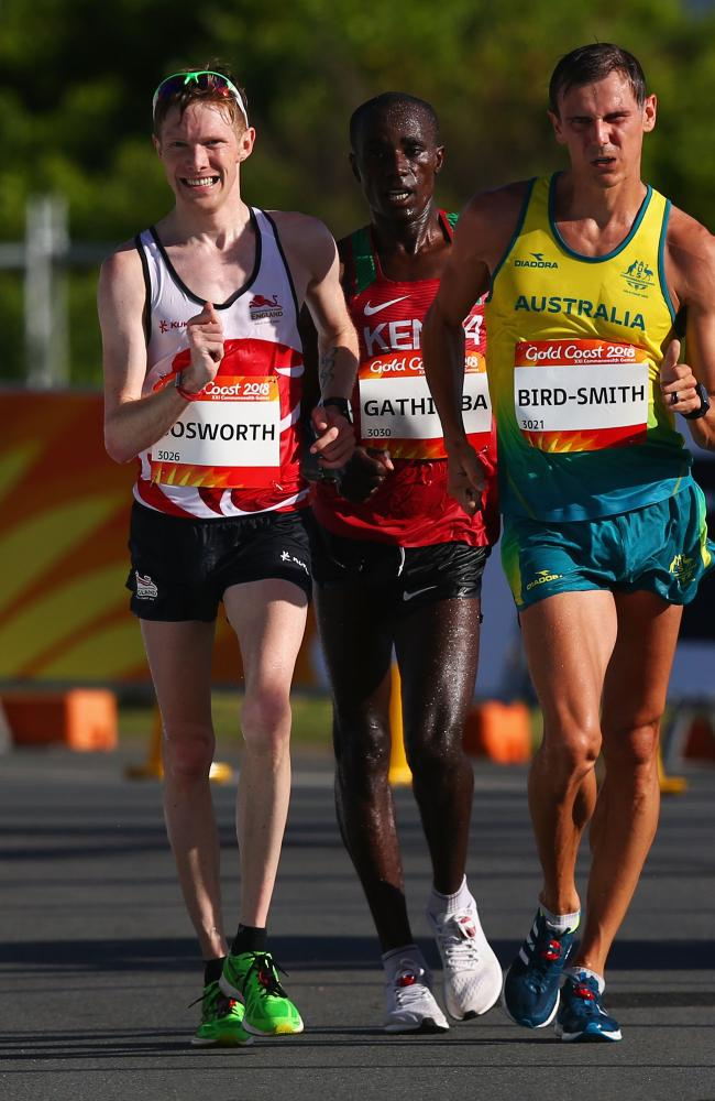 Dane Bird-Smith with Tom Bosworth of England and Samuel Ireri Gathimba during the men's 20km walk. Photo by Michael Dodge/Getty Images