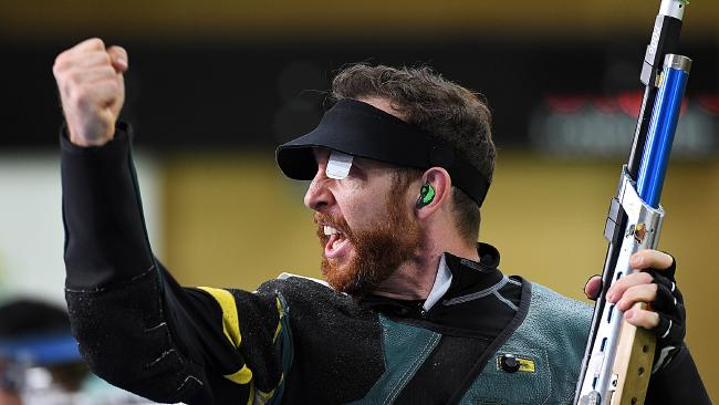 BRISBANE, AUSTRALIA — APRIL 08: Dane Sampson celebrates winning gold in the Men's 10m Air Rifle final during Shooting on day four of the Gold Coast 2018 Commonwealth Games at Belmont Shooting Centre on April 8, 2018 in Brisbane, Australia. (Photo by Albert Perez/Getty Images)