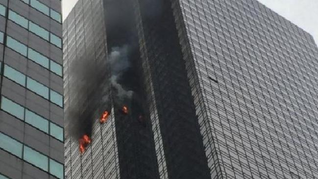 Firefighters are battling a fire at Trump Tower.