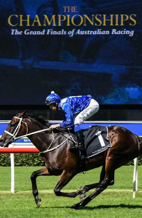Jockey Hugh Bowman and Winx take part in an exhibition gallop. Picture: AAP