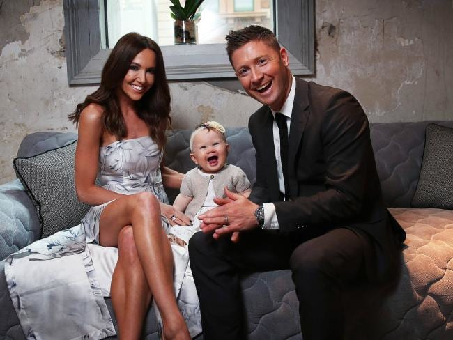 """Michael Clarke with wife Kyly and daughter Kelsey Lee: """"I'm very happy with my life and my girls."""" Picture: Phil Hillyard"""