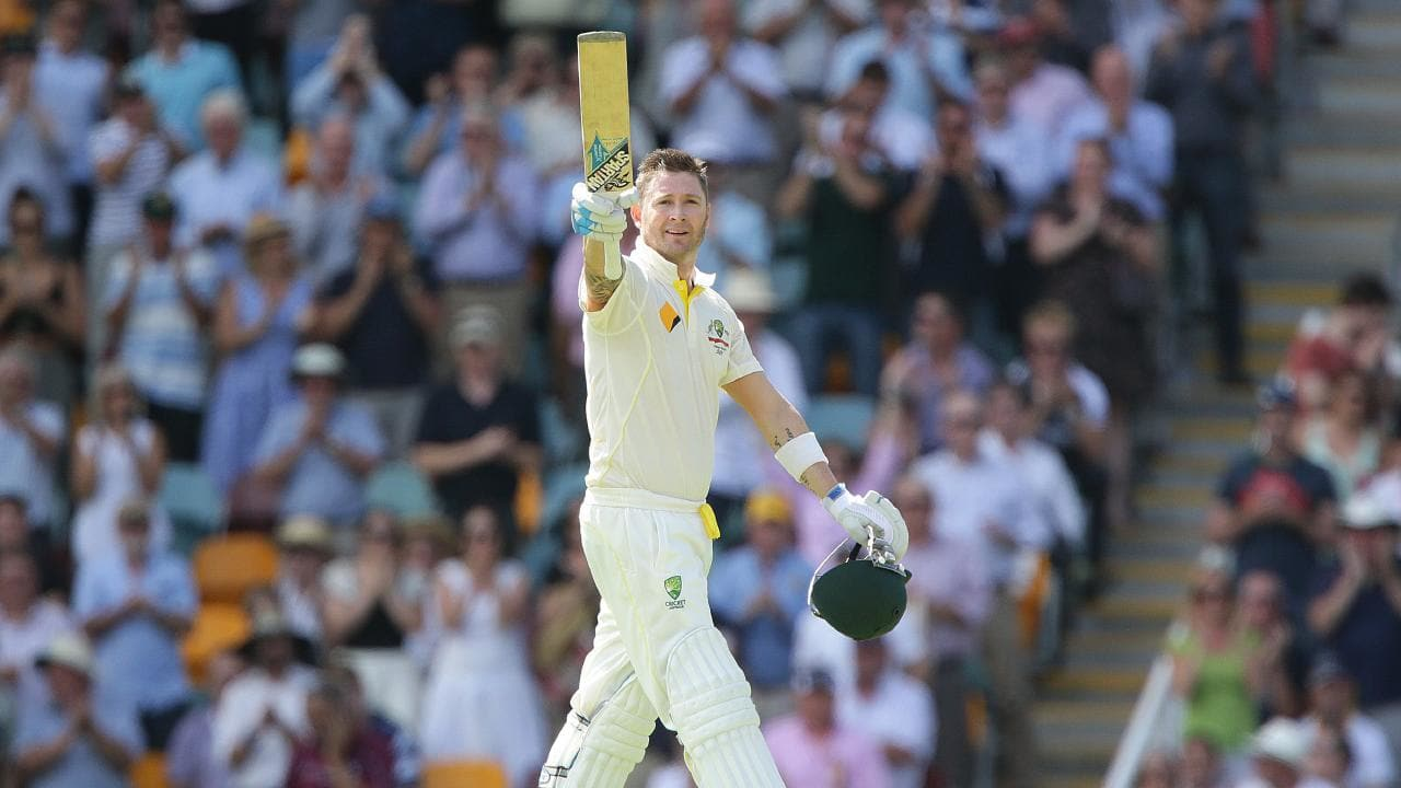 The Sydney-raised great acknowledges an Ashes century. Picture: Jono Searle