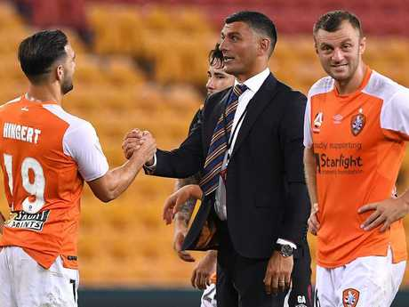 John Aloisi hopes to be celebrating with his players on Saturday. Picture: AAP
