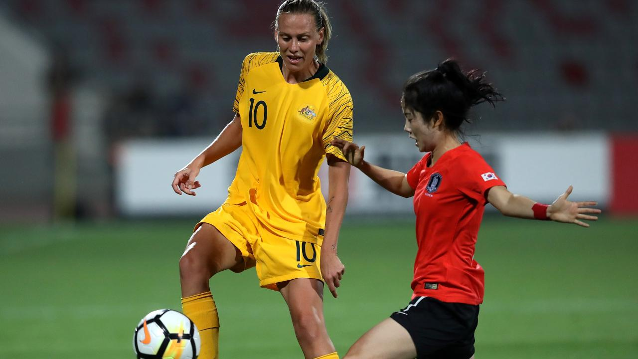 Emily Van Egmond searches for a way through the South Korean defence.