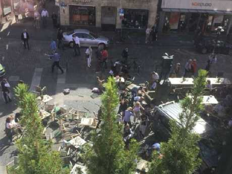Several are dead and as many as 30 are injured after a van ploughed into a crowd of people in Germany. Picture: Twitter