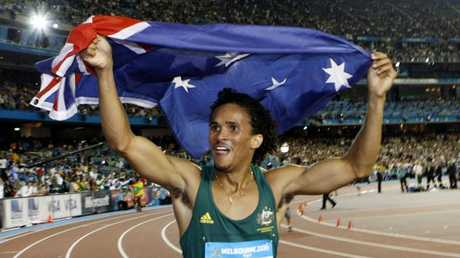 Athletics legend John Steffensen won the men's 400 metres title at the Commonwealth Games in Melbourne.
