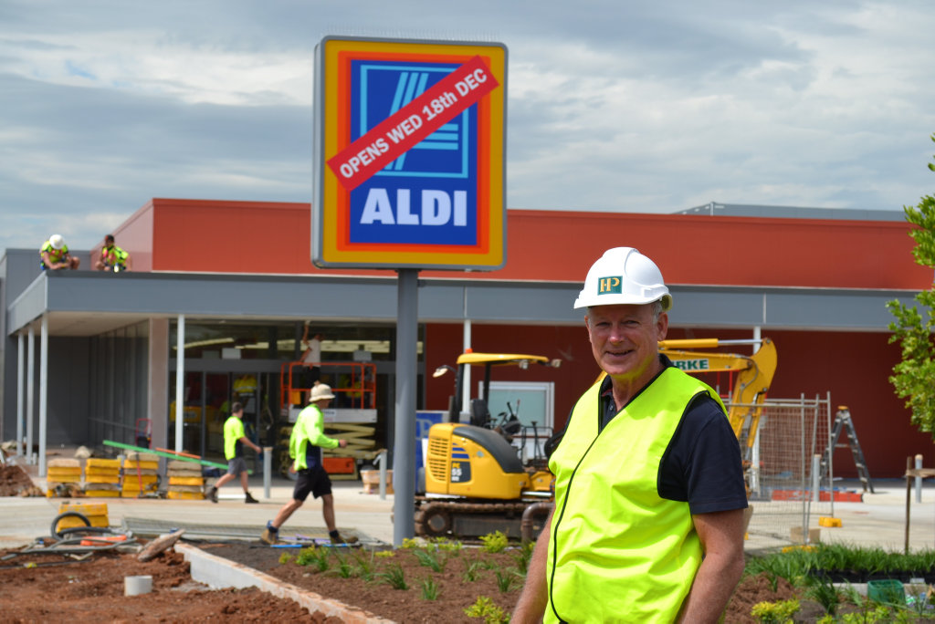 Northpoint developer Ian Knox out the front of the new Aldi in Parrot St, Toowoomba during construction in December 2013.