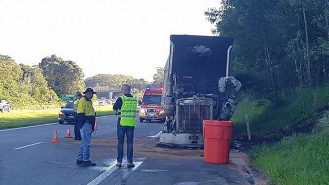 Emergency service crews at the scene of a truck fire on the Pacific Motorway near the Cabarita exit.