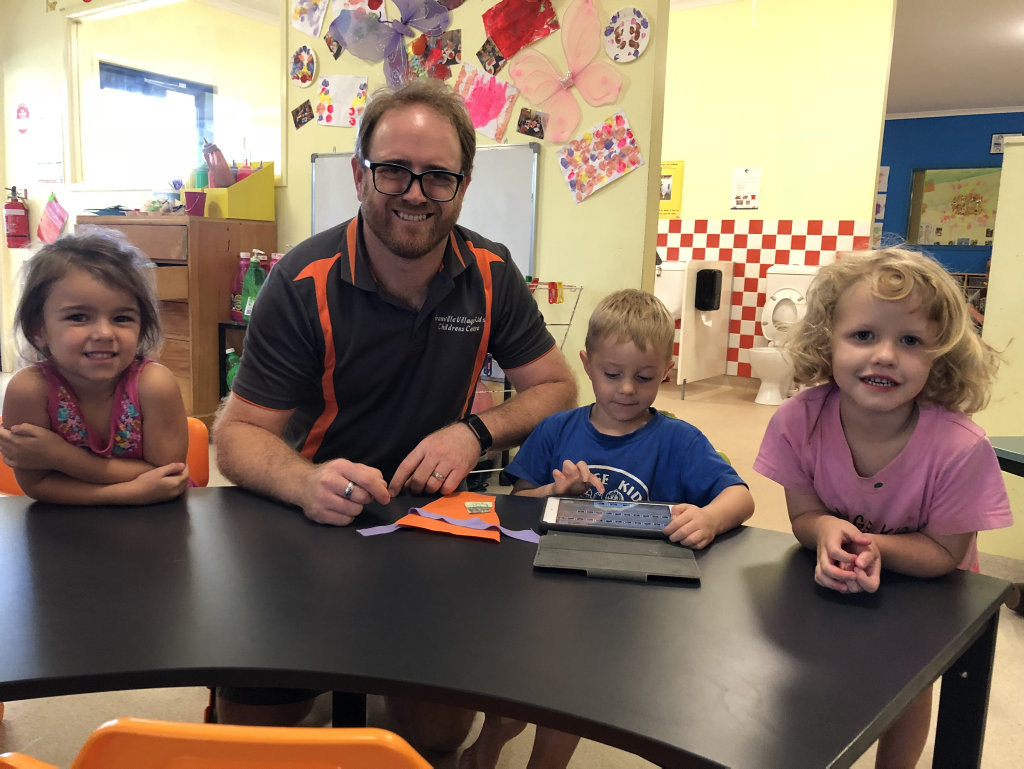 Teacher Peter Friend is teaching the children at Village Kids Children's Centre in Granville plenty of new skills.