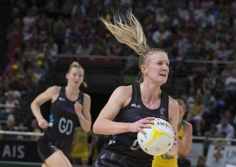 Shannon Francois of the Ferns during the netball Constellation Cup between the New Zealand Silver Ferns and Australian Diamonds, at Qudos Bank Arena, in Sydney, Saturday, October 14, 2017.