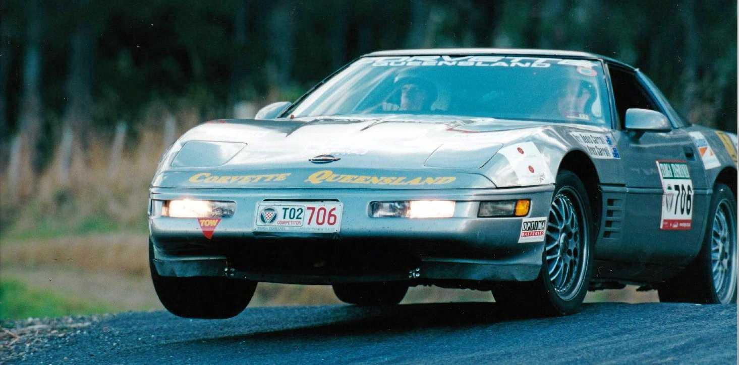 AVID RACER: Denis Carroll racing his corvette in Tasmania.