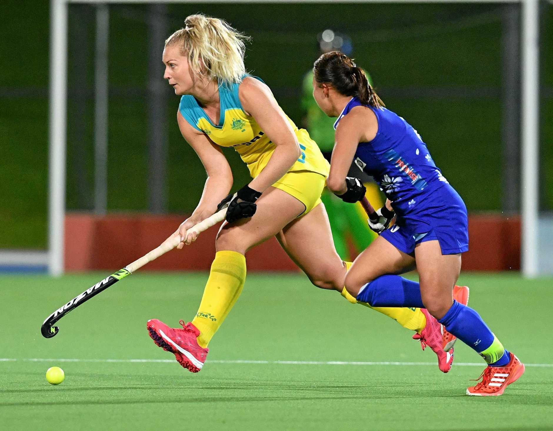 Sunshine Coast's Hockeyroo Ashlea Fey in action.