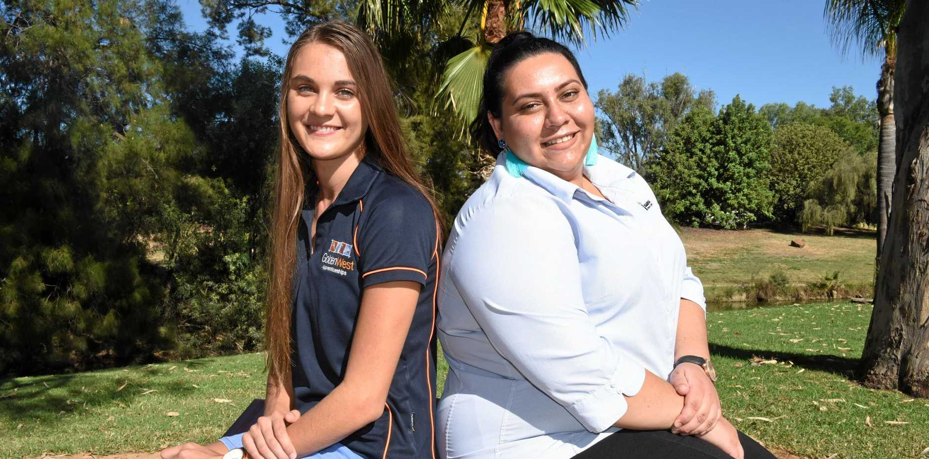 WORKING IT OUT: Rhylee Wiedman and Tayla Dennis are now increasing their skillset through training.