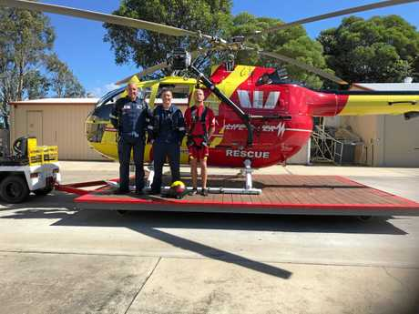 Westpac Lifesaver Rescue Helicopter crew Beau Farrell, Jimmy Orrom and George Levett were called to rescue an overturned tinnie this morning.