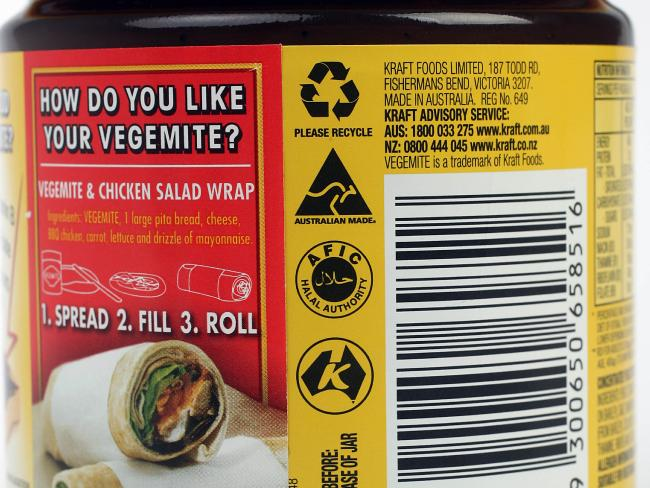 A Vegemite jar bearing the halal certification stamp.