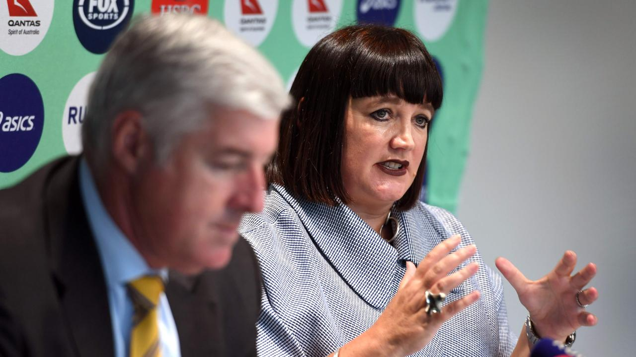 Rugby Australia chief executive Raelene Castle speaks next to Cameron Clyne.