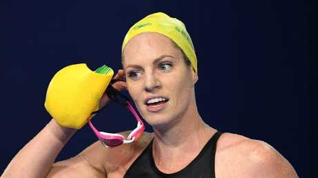 Emily Seebohm after swimming the women's 200m backstroke final on day four of the Commonwealth Games. (AAP Image/Dave Hunt)