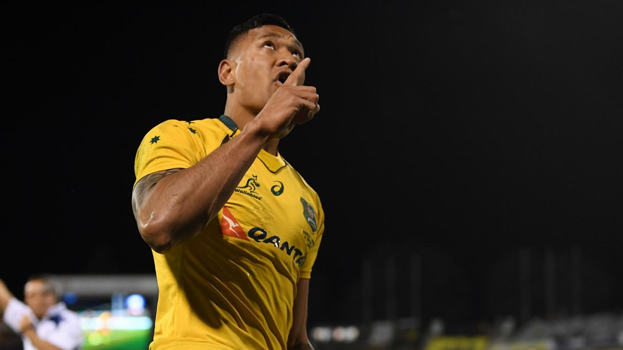 Israel Folau of the Wallabies celebrates after scoring a try in Canberra.