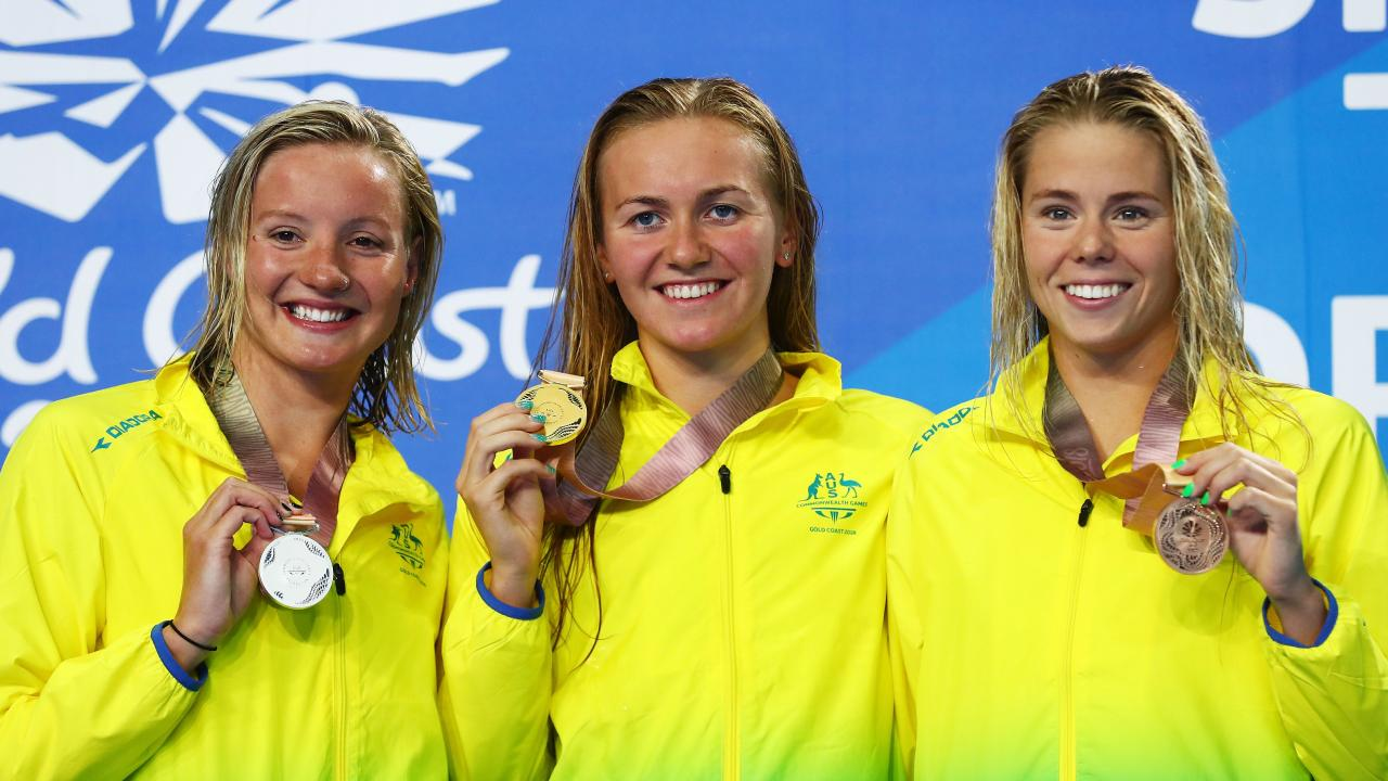 GOLD COAST, AUSTRALIA - APRIL 09: (L-R) Silver medalist Jessica Ashwood of Australia, gold medalist Ariarne Titmus and bronze medalist Kiah Melverton pose during the medal ceremony for the Women's 800m Freestyle Final on day five of the Gold Coast 2018 Commonwealth Games at Optus Aquatic Centre on April 9, 2018 on the Gold Coast, Australia. (Photo by Clive Rose/Getty Images)