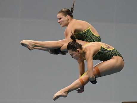 Taneka Kovchenko and Melissa Wu diving together. Picture: Getty Images