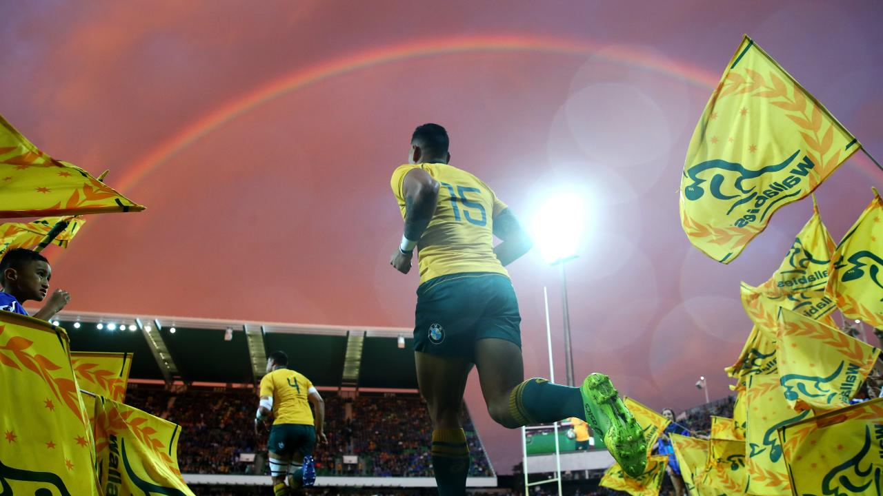 Israel Folau of the Wallabies runs onto the field at nib Stadium in Perth.