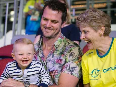 Laura Geitz shared an image of her son Barney, husband Mark and mother Juanita watching on in the stands at the Gold Coast Commonwealth Games on Sunday. Picture: @lmgeitz / Instagram