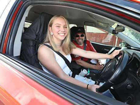 Kirsty Talsma, 17, learns to drive under the tutelage of Omar Khan. Picture: Annette Dew